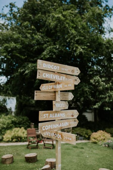 Rustic wooden direction signpost
