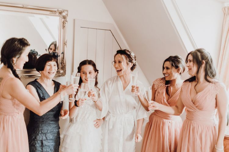 Bridal party on wedding morning