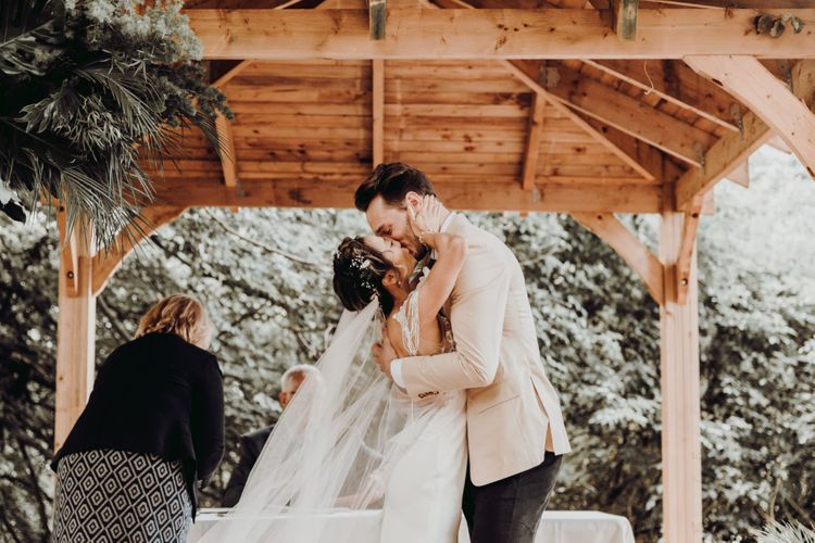You may now kiss the bride moment at Charisworth Farm wedding