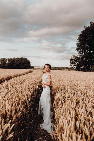 Beautiful bridal portrait in a wheat field by Romy Lawrence Photography