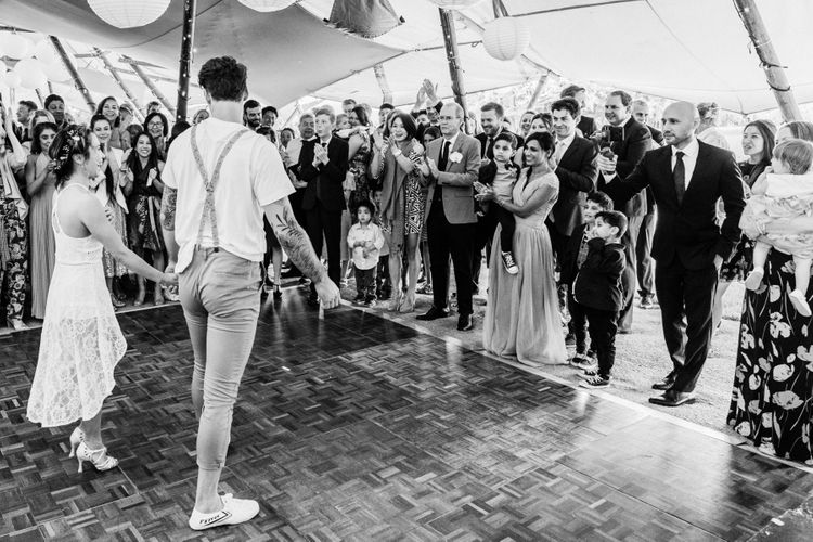 Bride and groom first dance at Charisworth Farm marquee reception