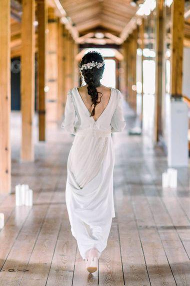 Bride with fishtail braided hair