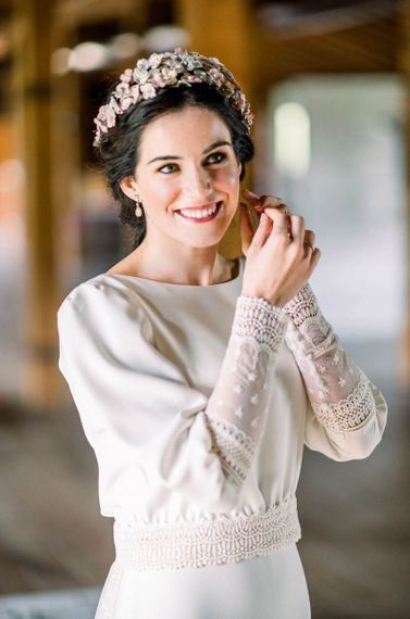 Beautiful bride in flower headdress