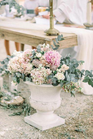 Romantic pink hydrangea and eucalyptus flower arrangement