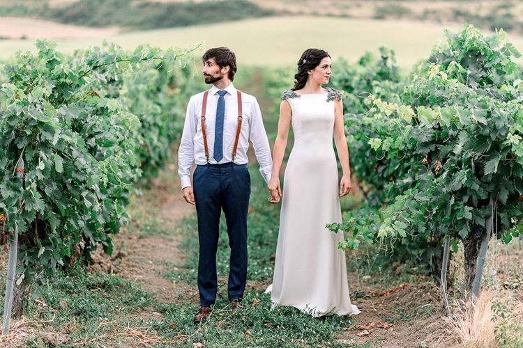 Bride and groom portrait in the vineyards
