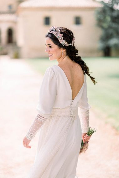 Low V back Victoria Imaz wedding dress with button and lace detail