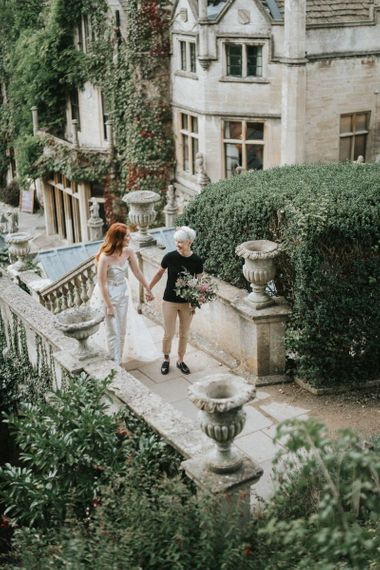 Two brides at Castle Combe Manor House in Wiltshire for LGBTQ+ wedding