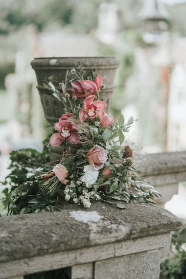 Romantic dusky pink and green wedding bouquet