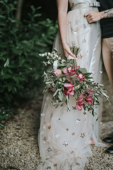 dusky pink and foliage wedding flowers for bridal bouquet