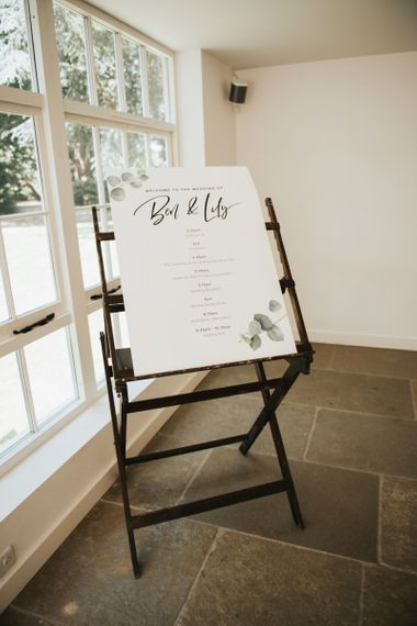 Order of day wedding sign