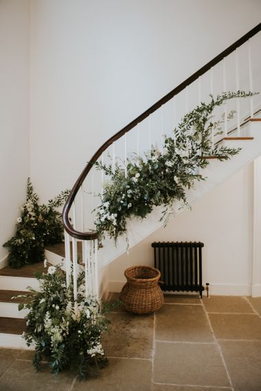 Foliage staircase flowers at Aswarby Rectory