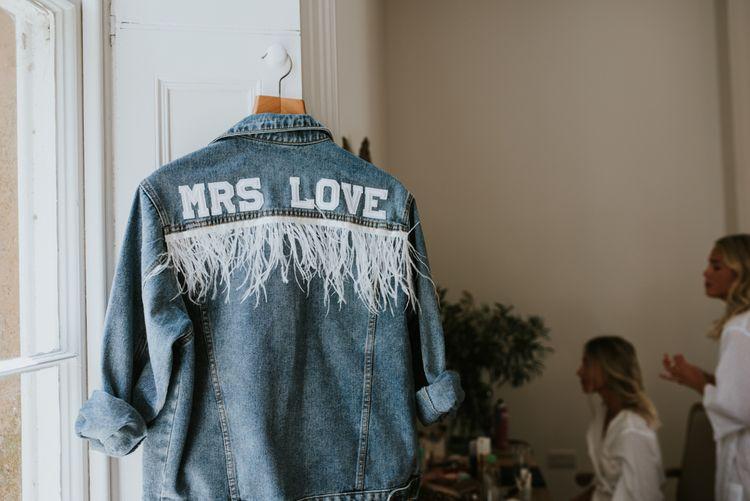 Personalised denim jacket with white fringe detail