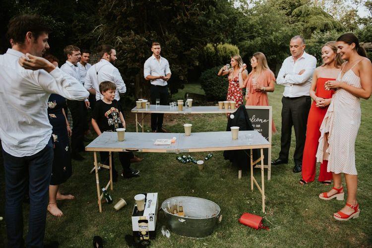 Beer pong wedding garden games