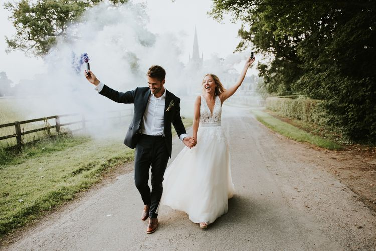Smoke bomb wedding portrait by Rosie Kelly Photography