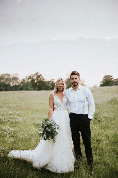 Stylish bride and groom at Lincolnshire wedding