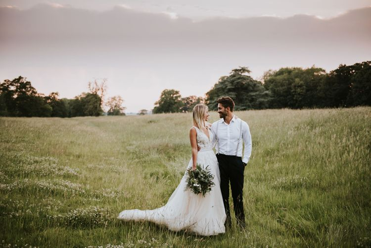 Bride and groom portrait at Aswarby Rectory wedding
