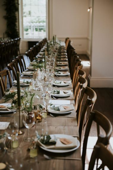 Banquet tables at Aswarby Rectory wedding reception