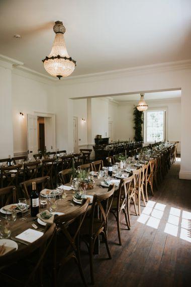 Banquet table decor at Aswarby Rectory reception