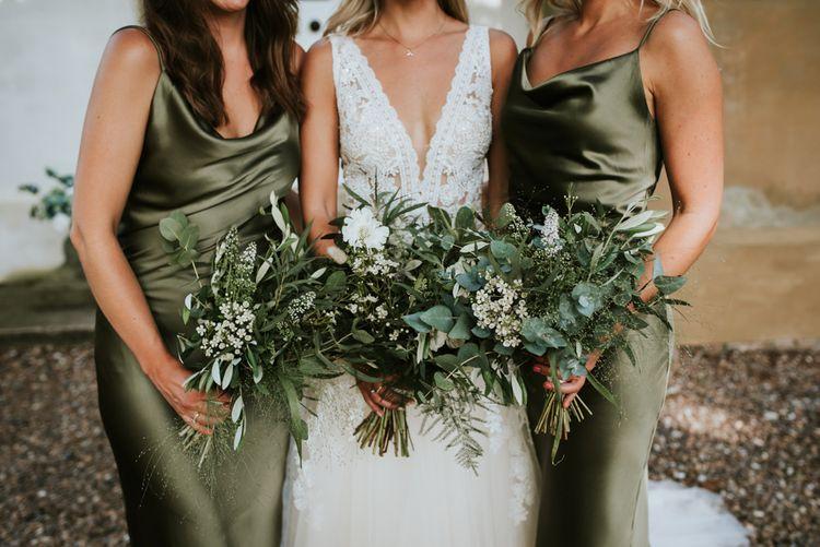 Bridal party foliage bouquets