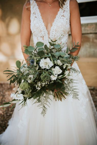 Foliage and white flower bouquet