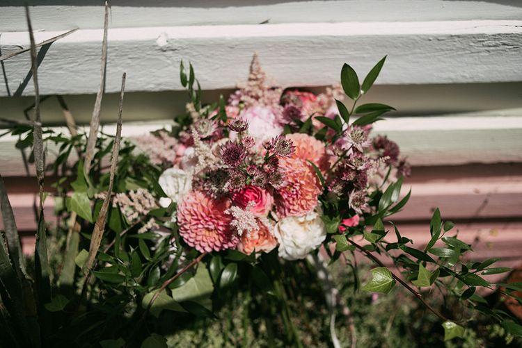 Blush Pink Dahlia Bridal Bouquet | Luxe Blush Pink Glasshouse Wedding at Cortal Gran, Spain Planned by La Puta Suegra  | Sara Lobla Photography