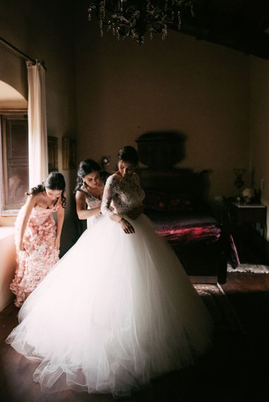 Wedding Morning Bridal Preparations | Rosa Clara Tulle Skirt & Lace Bodice Wedding Dress | Luxe Blush Pink Glasshouse Wedding at Cortal Gran, Spain Planned by La Puta Suegra  | Sara Lobla Photography