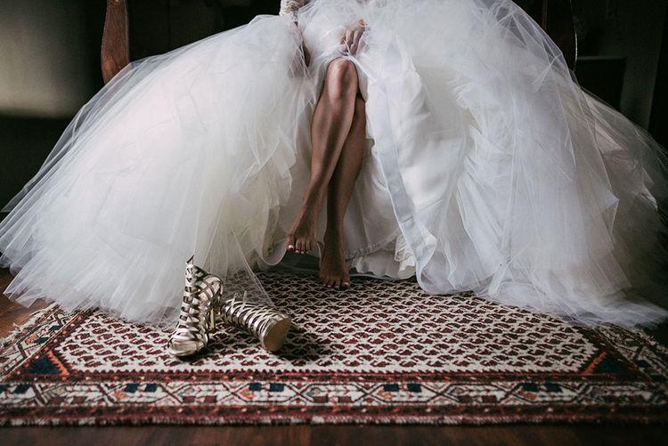 Laser Cut Wedding Shoes | Rosa Clara Wedding Dress | Luxe Blush Pink Glasshouse Wedding at Cortal Gran, Spain Planned by La Puta Suegra  | Sara Lobla Photography