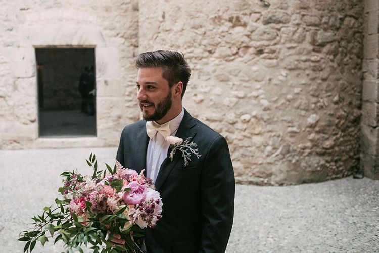 Groom in Black Tie Suit | Blush Bouquet | Luxe Blush Pink Glasshouse Wedding at Cortal Gran, Spain Planned by La Puta Suegra  | Sara Lobla Photography