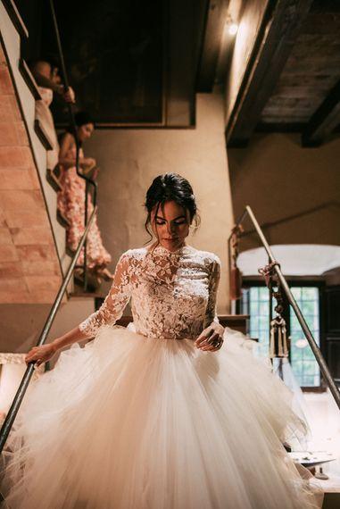 Bride in Rosa Clara Princess Gown | Luxe Blush Pink Glasshouse Wedding at Cortal Gran, Spain Planned by La Puta Suegra  | Sara Lobla Photography