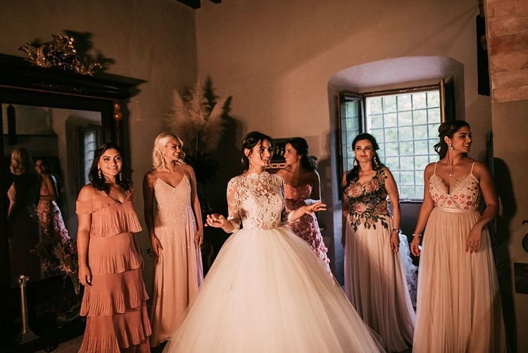 Bride in Rosa Clara Wedding Dress | Bridal Party in Different Blush Pink Dresses | Luxe Blush Pink Glasshouse Wedding at Cortal Gran, Spain Planned by La Puta Suegra  | Sara Lobla Photography