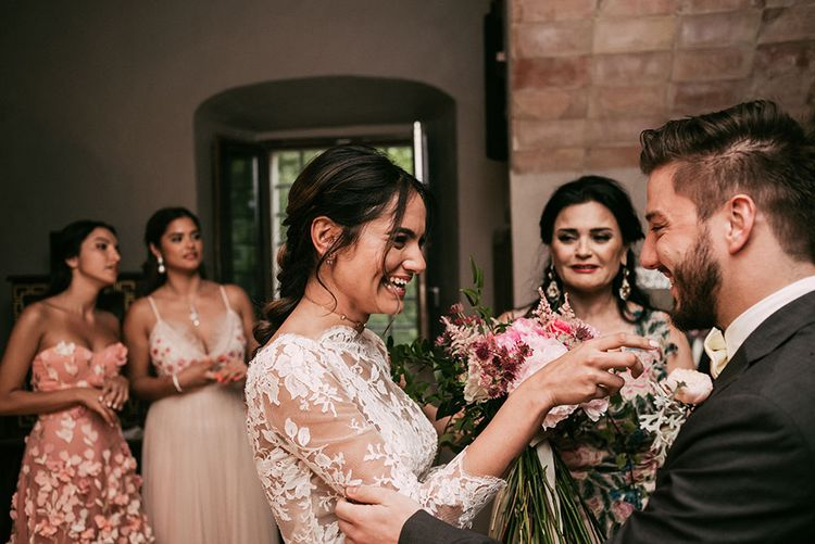 First Look | Luxe Blush Pink Glasshouse Wedding at Cortal Gran, Spain Planned by La Puta Suegra  | Sara Lobla Photography