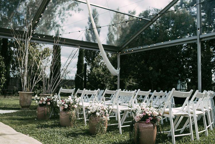 Glasshouse Ceremony | Aisle & Altar Style | Luxe Blush Pink Glasshouse Wedding at Cortal Gran, Spain Planned by La Puta Suegra  | Sara Lobla Photography