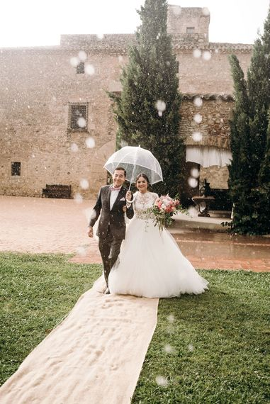 Bridal Entrance in Rosa Clara Wedding Dress | Luxe Blush Pink Glasshouse Wedding at Cortal Gran, Spain Planned by La Puta Suegra  | Sara Lobla Photography