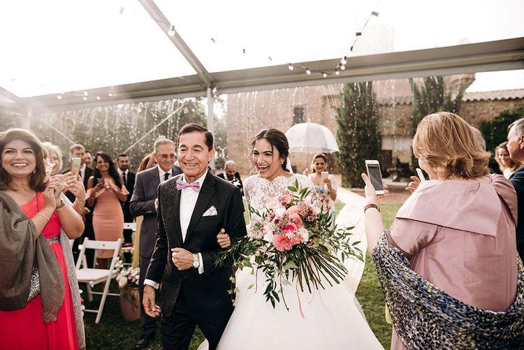 Wedding Ceremony | Bridal Entrance in Rosa Clara Gown | Luxe Blush Pink Glasshouse Wedding at Cortal Gran, Spain Planned by La Puta Suegra  | Sara Lobla Photography