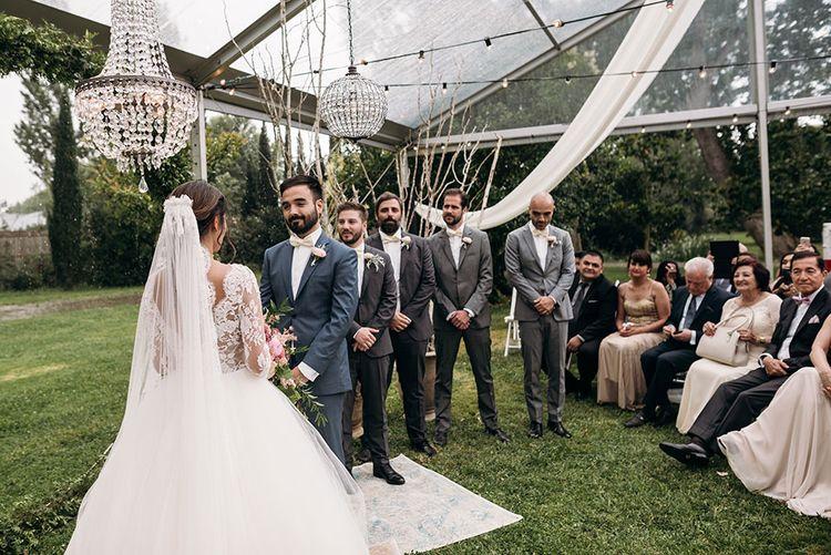 Wedding Ceremony | Bride in Rosa Clara Gown | Groom in Black Tie | Luxe Blush Pink Glasshouse Wedding at Cortal Gran, Spain Planned by La Puta Suegra  | Sara Lobla Photography