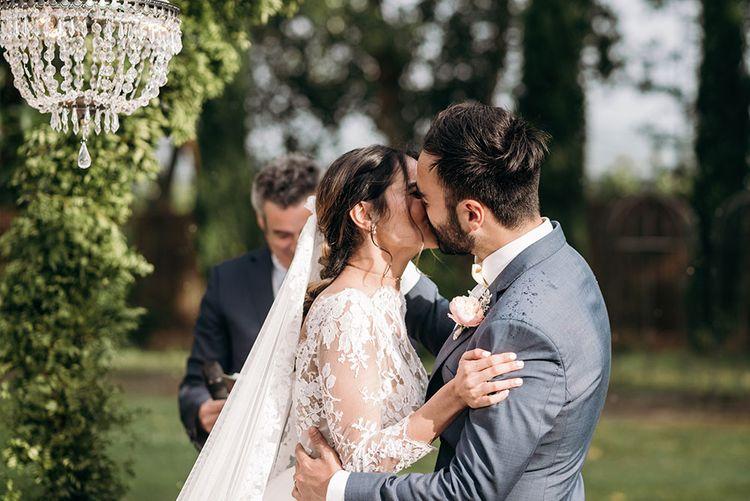 Wedding Ceremony | Bride in Rosa Clara Gown | Groom in Grey Suit | Luxe Blush Pink Glasshouse Wedding at Cortal Gran, Spain Planned by La Puta Suegra  | Sara Lobla Photography