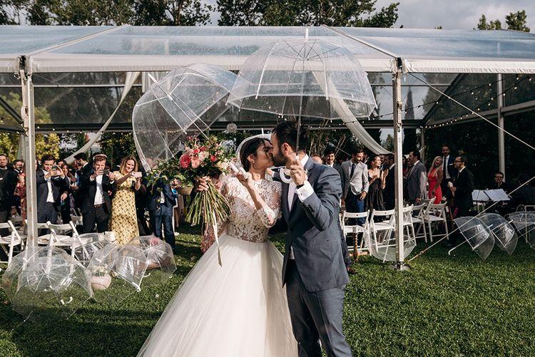 Bride in Rosa Clara Princess Gown | Groom in Grey Suit | Luxe Blush Pink Glasshouse Wedding at Cortal Gran, Spain Planned by La Puta Suegra  | Sara Lobla Photography