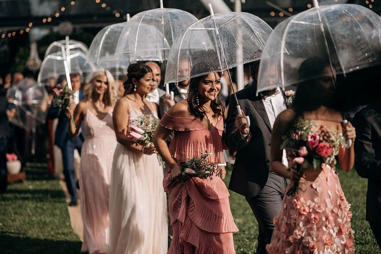 Bridesmaids in Different Blush Pink Dresses | Luxe Blush Pink Glasshouse Wedding at Cortal Gran, Spain Planned by La Puta Suegra  | Sara Lobla Photography