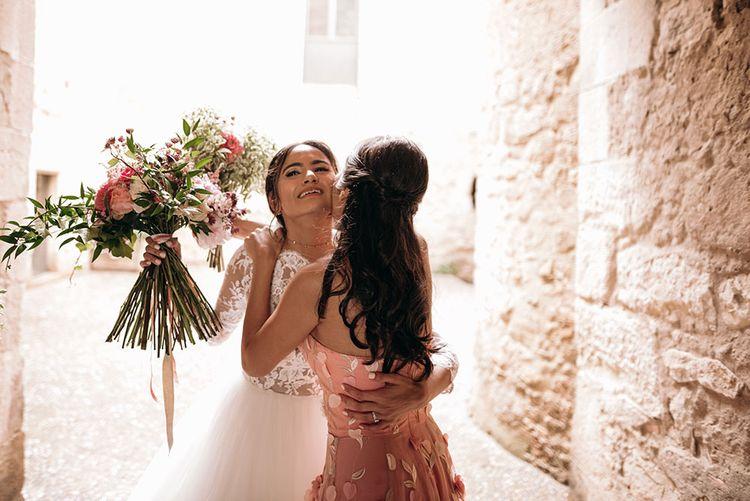 Bride in Rosa Clara Gown | Bridesmaid in Blush Pink Dress | Luxe Blush Pink Glasshouse Wedding at Cortal Gran, Spain Planned by La Puta Suegra  | Sara Lobla Photography