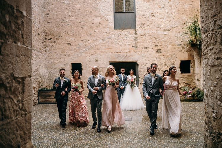 Wedding Party | Bride in Rosa Clara Gown | Bridesmaids in Different Blush Pink Dresses | Groomsmen in Grey  Suits & Bow Ties | Luxe Blush Pink Glasshouse Wedding at Cortal Gran, Spain Planned by La Puta Suegra  | Sara Lobla Photography