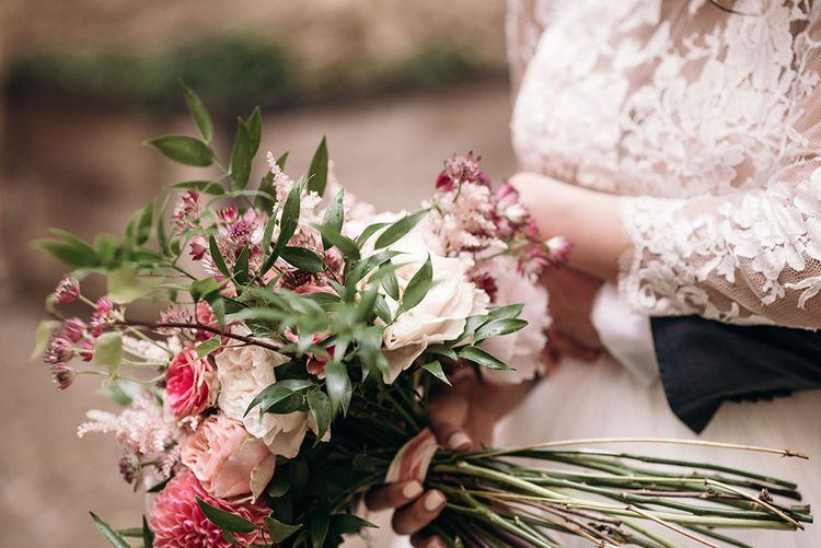 Blush Pink Bridal Bouquet | Bride in Rosa Clara Princess Gown | Luxe Blush Pink Glasshouse Wedding at Cortal Gran, Spain Planned by La Puta Suegra  | Sara Lobla Photography