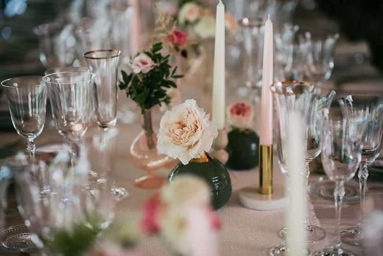 Elegant Table Decor | Flower Stems in Vases | Taper Candles | Luxe Blush Pink Glasshouse Wedding at Cortal Gran, Spain Planned by La Puta Suegra  | Sara Lobla Photography