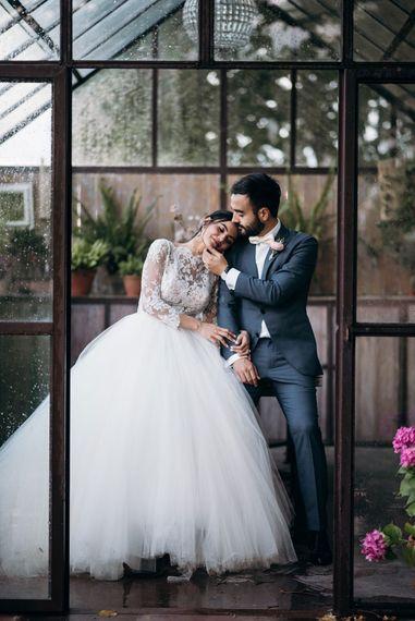 Bride in Rosa Clara Princess Gown | Groom in Grey  Suit & Bow Tie | Luxe Blush Pink Glasshouse Wedding at Cortal Gran, Spain Planned by La Puta Suegra  | Sara Lobla Photography