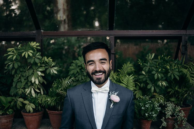 Groom in Grey  Suit & Bow Tie | Luxe Blush Pink Glasshouse Wedding at Cortal Gran, Spain Planned by La Puta Suegra  | Sara Lobla Photography