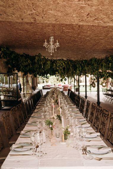 Elegant Tablescape | Luxe Blush Pink Glasshouse Wedding at Cortal Gran, Spain Planned by La Puta Suegra  | Sara Lobla Photography