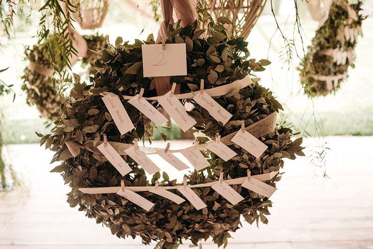 Foliage Wreath Table Plan | Luxe Blush Pink Glasshouse Wedding at Cortal Gran, Spain Planned by La Puta Suegra  | Sara Lobla Photography