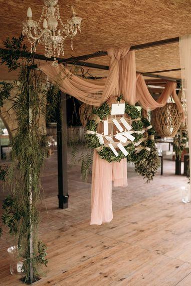 Foliage Wreath Table Plan | Wedding Decor | Luxe Blush Pink Glasshouse Wedding at Cortal Gran, Spain Planned by La Puta Suegra  | Sara Lobla Photography