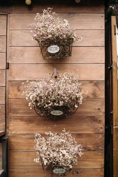 Floral Baskets Wedding Decor | Wedding Decor | Luxe Blush Pink Glasshouse Wedding at Cortal Gran, Spain Planned by La Puta Suegra  | Sara Lobla Photography