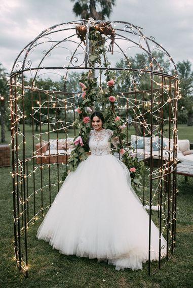 Bride in Rosa Clara Princess Gown | Wedding Decor | Luxe Blush Pink Glasshouse Wedding at Cortal Gran, Spain Planned by La Puta Suegra  | Sara Lobla Photography