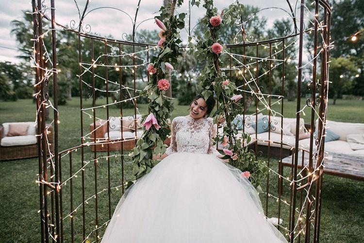 BRide in Rosa Clara Tulle & Lace Wedding Dress | Wedding Decor | Luxe Blush Pink Glasshouse Wedding at Cortal Gran, Spain Planned by La Puta Suegra  | Sara Lobla Photography